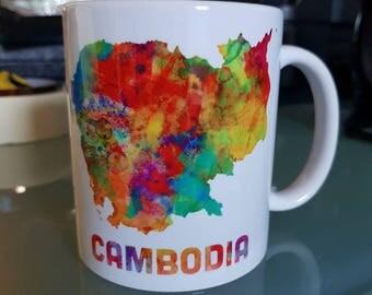 custom Cup Cambodia Khmer Cambodia watercolor painting