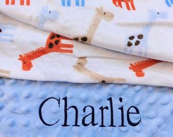 Personalized giraffe baby blanket. Giraffe Minky Baby Blanket. Baby Gift Shower Gift Baby Gift Baby Girl Gift.