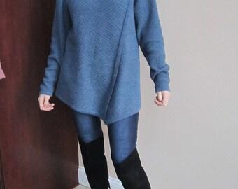 Machine knitted  wool,asymmetric  women sweater tunic, blu color, cowl neck, Size L