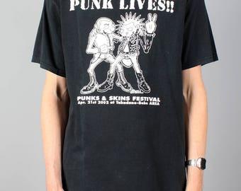 Punk Lives T-shirt - vintage punk & skins festival shirt - band shirt - festival band Tshirt T - Anvil Size M Medium