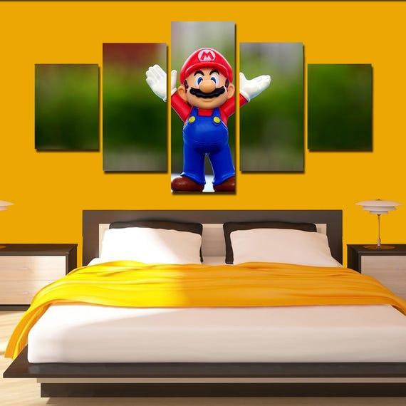Super Mario Canvas Art Mario poster Mario print 5 panel home