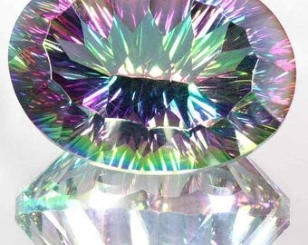 78.80Cts Natural Significant Rainbow Mystic Topaz Oval Concave Cut Gemstone