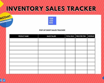 Instant Download | Minimal Sales Tracker for Pop Up Shops, Craft Shows, Farmer's Markets, Trade Shows, and other Vendor Events