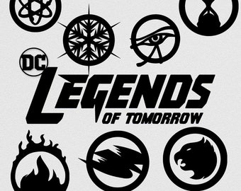 DC Legends of Tomorrow Logo Silhouettes Clip Art, Black Silhouette Clip Art, Digital Clip Art, DC Clip Art, DC Black Silhouette Logos