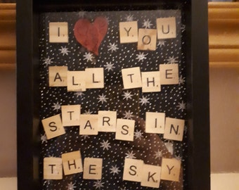 I love you all the stars in the sky Scrabble Art