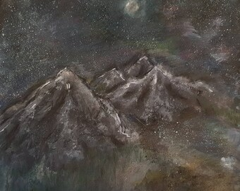 Original painting, Mountain Landscape | Painted with acrylic paints and pastel chalk