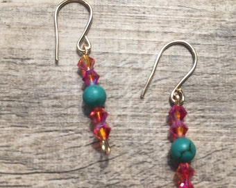 Turqouise and Swarovski 14k gold filled earrings