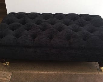 Large Deep Buttoned Chesterfield  Footstool Ottoman - Handmade- Chenille Fabric - Black
