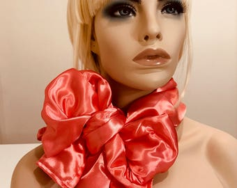 Pink, coral bridal silky satin neck scarf and head wrap, long scarf, women's accessories