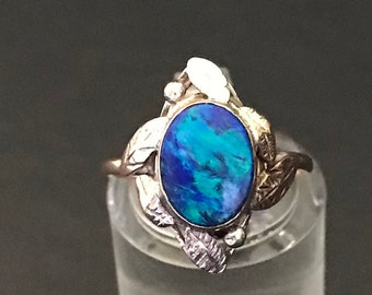 Arts & Crafts Silver, Gold and Opal Ring