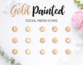 Social Media Icons, Glitter Gold Icons, Glam Design, Social Media Buttons, Gold Buttons, Social Icons, Blog Icons, Website Icons, Branding