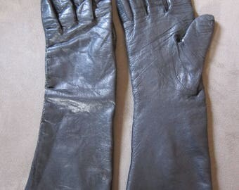 Vintage Italian Black Leather Gloves, Women's size 8