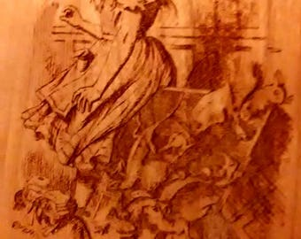 """Alice's Adventures in Wonderland Engraved Book Page:  Chapter 12 """"Alice's Evidence"""",  Solid Cherry, Lewis Carroll, Sir John Tenniel"""