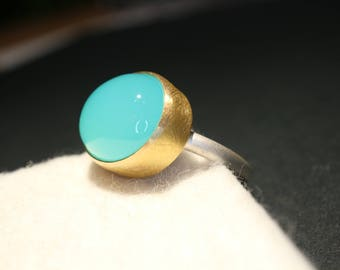 Silver and gold ring with Chalcedon sea Blue