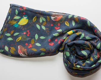 Beautiful blue tit scarf / bird scarf / navy scarf / Mother's Day