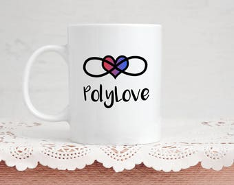 Romantic Polyamory Mug Gift - PolyLove with Infinity Symbol and Heart - 11 Ounce Coffee and Tea Mug for Him and Her Valentine's Day Gift