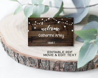 Rustic wedding place cards Dark wood wedding name cards Country wedding Boho place card printable Vintage name place card template - DIGITAL