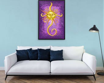 "Painting-Style Illustration ""Glow Sunface"" by Malinee Ganahl. Fine Art Lustre Print.  Yellow sun with face on purple background."