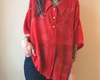 semi-sheer 50's blouse, scarlett red with playful white/silver pattern throughout