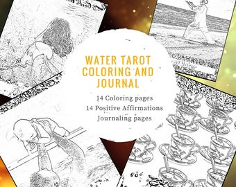 14 Tarot Water Suite Coloring Sheets Affirmations Journal Modern Pages Book Adult Meditative Learn Study Journaling Positive