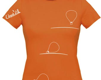 Hot air balloon - balloon t-shirt. Sport shirt. Woman