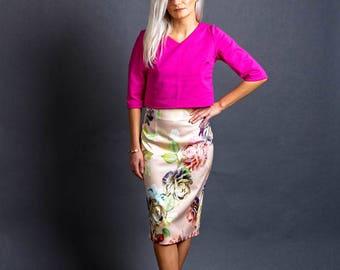 Taffeta skirt Manière with flowers