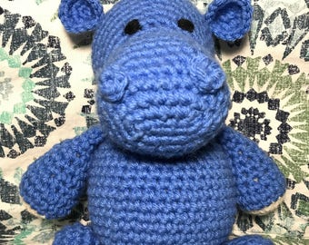Amigurumi Stuffed Hippo, Plush Hippo, Crochet Stuffed Animal, Nursery Decor, Handmade Stuffed Animal, Hippo Gift, Hippo Decor, Baby Gift