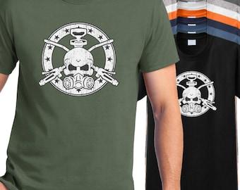 Exterminator T-shirt, exterminator's skull crossbones shirt, pest control t shirt