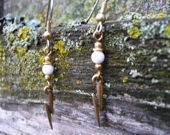 White Onyx Lightening Bolt Earrings