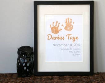 Custom Personalized Baby Handprint Birth Statistics Nursery Decor Art Print Vertical