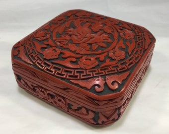 Red and black carved Chinese lacquer box