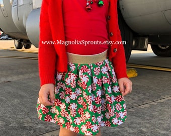 Custom Christmas skirt with metallic waistband