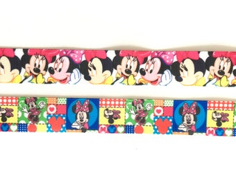 "Minnie Mouse 7/8"" 22 mm Grosgrain Ribbon for Hair Bows Scrapbooking Crafts Party Cake Birthday Decoration"