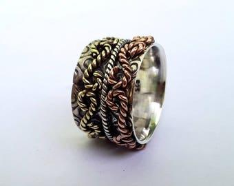 Infinity silver ring, Meditation ring, Spinner ring, Spinning ring, Fidget ring, Worry ring, Silver jewelry,Handmade ring Spinner band US8.5