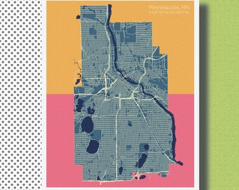 Minneapolis - MPLS - MN - Map Art Print