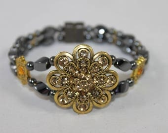 Gold Rhinestone Flower High Quality Magnetic Bracelet