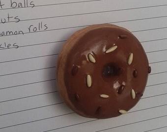 Chocolate sprinkle donut magnet
