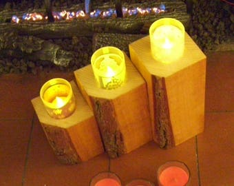 Rustic Bark on 3 tier candle holder
