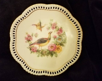 Reticulated Five Inch Plate Featuring Pheasants Made In Germany