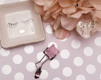 Birthstone Owl Pink Ruffles; pen clip, pen loop