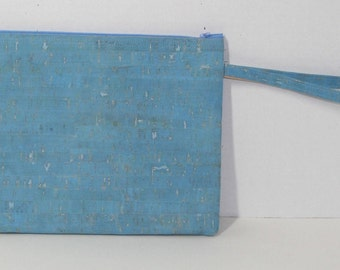 Clutch purse with wrist strap - made of cork fabric