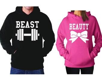 Beauty and Beast Matching Couple Hoodies