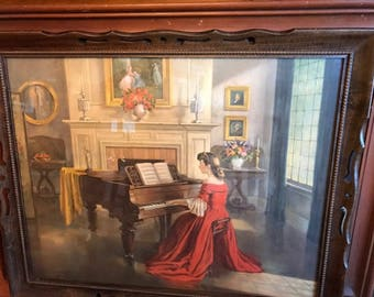 Vintage Framed Lithograph of Sonata by M Ditlef