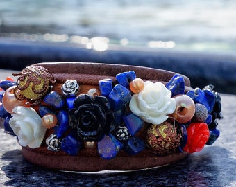 ON SALE! Handmade Leather Bracelet With Stones, Riga, Latvia