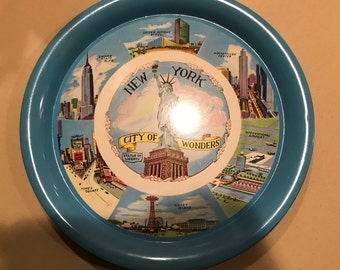 "New York City-the City of Wonders.  11"" tin serving tray.  Nostalgic views. History, souvenir and NYC buffs, bar decor"