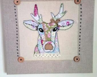 Patchwork Deer Canvas