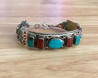 Tibetan Turquoise Coral Beaded Bracelet