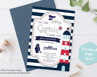 Nautical Invitation, Nautical Party Invitations, Nautical Birthday Invitation, Navy and White Invitation Template Download, Little Captain
