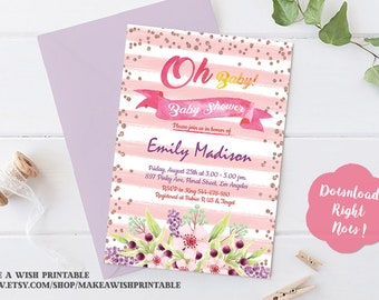 Oh Baby Shower Invitation, Oh Baby Invitation, Pink Baby Shower Invites, Pink Watercolor Baby Shower Invites Girl, Watercolor Invitation