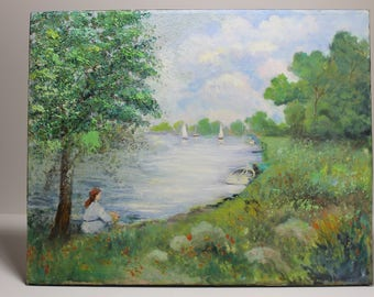 Oil Painting - A Sunny day on the river